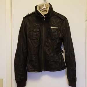 Superdry sherpa lined leather jacket